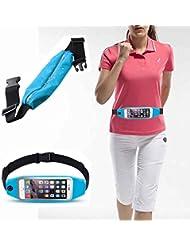 """Running cinturón riñonera, bolsillo grande deportes al aire libre a prueba de sudor cinturón cintura bolsa con cremallera y ventana de pantalla táctil transparente para iPhone 6/6S o otros Smartphones de 4""""–5.3""""–Azul"""