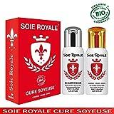 Coffret Soie Royale Cure Soyeuse 125 ml sans rinçage + Shampoing BIO Régénèrent 125 ml Cheveux Visage Corps Sans Alcool Divinement ROYALE et INOUBLIABLE.