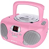 Groov-e GVPS713PK Boombox Portable CD Player with Radio & Headphone Jack - Pink