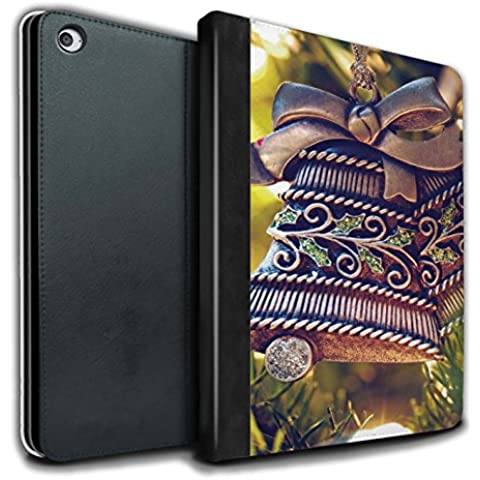 Stuff4 PU Cuero Funda/Carcasa/Folio Libro en Para el Apple iPad Air 2 tablet / serie: Foto de Navidad - Campana de Bronce