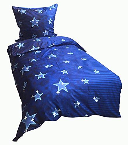 Leonado Vicenti 2 tlg. Microfaser Bettwäsche Set Kinder Jungen oder Mädchen Garnitur Kinderbettwäsche mit Reißverschluss, Maße:135 cm x 200 cm, Farbe:Galaxy Blau