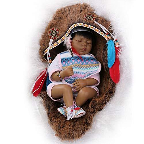 (MMYJ Echt Lebensecht Baby Born Puppe 55 cm 22 Zoll Schlaf Neugeborene Kleinkinder Spielzeug Amerikanischen Schwarz Ethnische Realistische Weiche Silikon Puppe Indischen Stil)