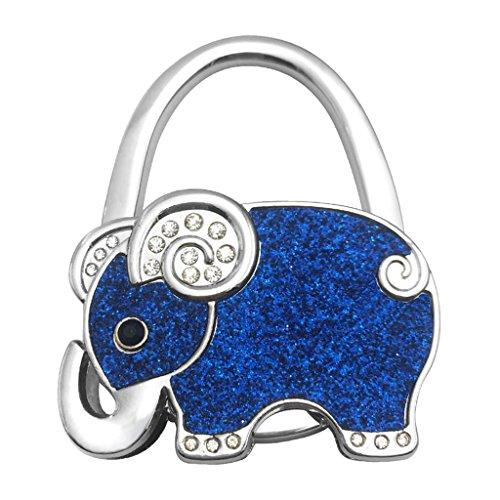MagiDeal Lovely Cartoon Elefante Diseño portátil Plegable Bolsa Bolso de Mano Monedero Percha, Azul Oscuro, 6.6x5.3x1cm