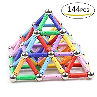 144 PCS Magnetic Sticks Construction Set toys and Educational Stacking Toys for Adults and Toddlers (Children over 6 Years Old) by LocoTime