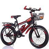 FJW Unisexo Bicicleta de montaña Velocidad única 18 Pulgadas 20 Pulgadas 22 Pulgadas 24 Pulgadas Estudiante Niño Ciudad del Viajero Bicicleta con Set de Regalo,Red,20Inch