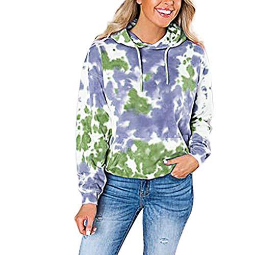 Pullover Damen Kapuzenpullover Top Xjp Kapuzenpullis Frauen Beiläufiger Gedruckter Langer Hülsen Hoodie Pullover Für Damen(Blau,M)