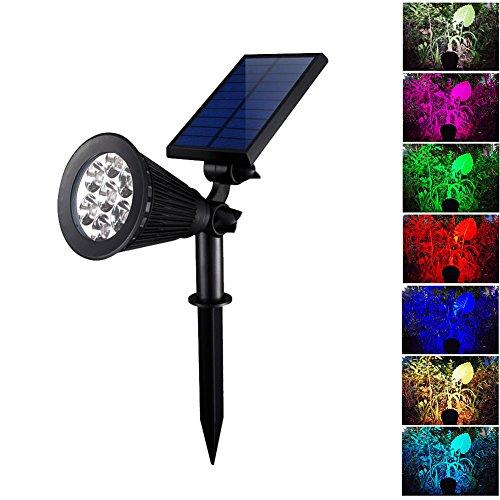 7LICHT Solarleuchte Projektor-Lampe LED-Farbwechsel-Licht Wasserfest Ketschup-verstellbar für den Garten Außen (Sie Wand Schalter Licht Ändern)