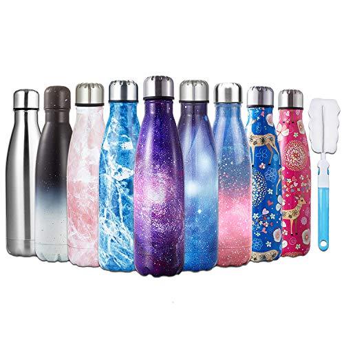 Hgdgears bottiglia acqua in acciaio inox - senza bpa, borraccia termica isolamento sottovuoto a doppia parete, borracce per bambini, scuola, sport, all'aperto, palestra, yoga (500ml, blu stellato)...
