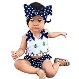Hankiki 3er Set Baby Kleinkind Spielanzug Overall Bodies Anzug Mädchen Bekleidung Set mit Stirnband Geburtstag Geschenk Verkleidung