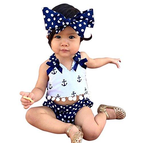Hankiki 3er Set Baby Kleinkind Spielanzug Overall Bodies Anzug Mädchen Bekleidung Set mit Stirnband Geburtstag Geschenk (Kostüm Doe Mädchen)