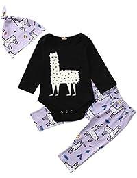 ALIKEEY Newborn Baby Boys Girls Long Sleeve Cartoon Print Tops + Pantalones Cap Ropa Conjuntos Rop Zapatos De Primeros Pasos
