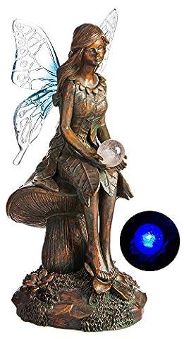 Neuf Creative Bluebell Globe solaire de jardin Statue de fée