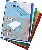Rexel 696512 Sichthüllen (kürzeres Oberblatt für leichte Entnahme, Format A4) 25 Stück farbig sortiert