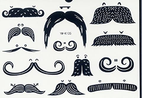 SPESTYLE waterproof non toxic long last temporary tattoos stickers different beards and wigs
