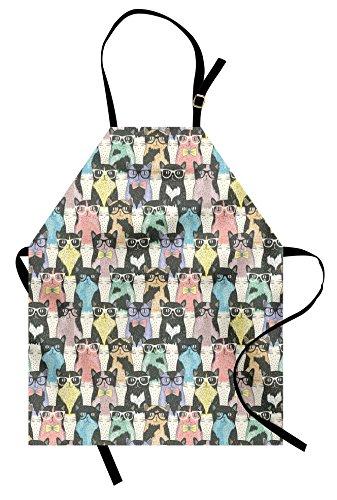 Ambesonne Lustige Schürze, verspielte Hipster-Katzen mit Brille, Bunte Clip-Kunst-Druck, Unisex, Küchen-Lätzchen, Schürze mit verstellbarem Hals zum Kochen, Backen, Gartenarbeit, Mehrfarbig