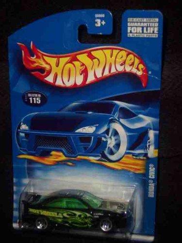 #2002-115 Honda Civic Dark Green Tinted windows Collectible Collector Car Mattel Hot Wheels 1:64 Scale by Hot Wheels