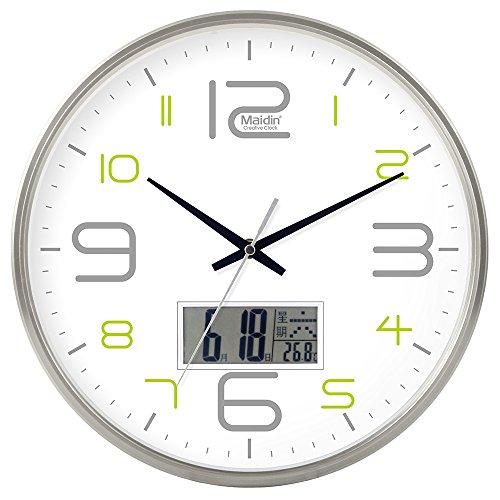 DIDADI Wall Clock Schautafel Schlafzimmer Wohnzimmer Hörraum Wanduhr Herr Ding hinter dem Kalender Uhr - Ching-stein Batterie Uhren runden-Jong-Mann, 10-Zoll-LCD, 543 Silver Edition