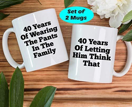 CiCiDi 11 Unzen Kaffeetasse-40. Jubiläumsgeschenk, 40 Jahre verheiratetes Geschenk, 40 Jahre verheiratetes Jubiläumsgeschenk, 40. Jubiläum, 40 Jahre Ehe, 40. Jubiläumsbecher