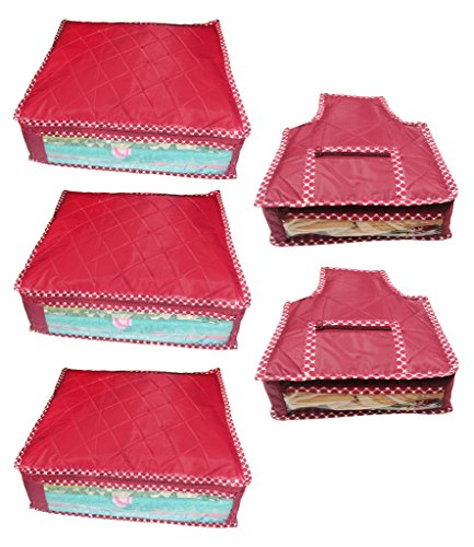 Atorakushon Combo deal-Multipurpose 3pcs saree cover sari cover and 2pcs blouse cover Dress Protection Cover for keeping sari blouse salwar suit lehanga bedsheet shirt jeans etc