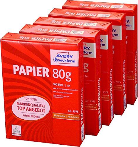 Preisvergleich Produktbild Avery Zweckform 2575 Drucker- und Kopierpapier A4, 80 g/m², 5 x 500 Blatt, alle Drucker, weiß (Frustfreie Verpackung)