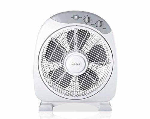 HAEGER Home Wind - Ventilador Boxfan, 3 velocidades, aspas 30,5cm de diamétro, ajustable verticalmente temporizador con 60 minutos, multidireccional, 40W
