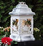 ♥ Grablampe Engel Rosen Weiß Rustikal mit Grablicht 26,0cm Grabschmuck Grablaterne Grableuchte Kerze Grablicht Grabkerze Laterne Lampe Licht Schutzengel