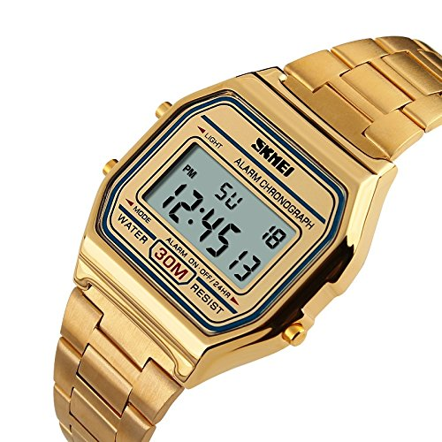 SKMEI Fashion Casual Golden Multifunction Digital Stainless Steel 30M Waterproof Watch