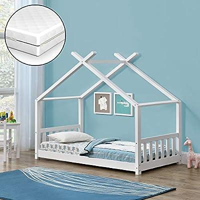 [en.casa] Cama para niños de Pino con Colchón de Espuma fría 160 x 80 cm Cama Infantil Forma de casa - Blanco Mate Certificado Oeko-Tex 100 Hecho en UE