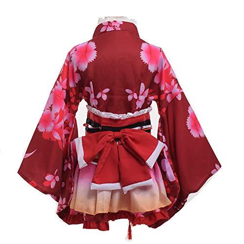 GRACEART Yukata Kimono Kostüm Cosplay Einstellen (Rot) -