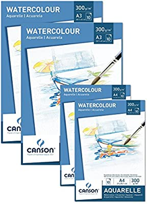 Canson Aquarellpapier 300 g/m² Aquarellblock je 10 Blatt weiß – Papier mit hoher Qualität für Aquarell Kunst säurefrei von Canson auf TapetenShop