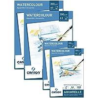 Pack de ahorro Canson 2x bloque A4+ 2x bloque A3para acuarelas 300g/m², 10hojas cada color blanco–Papel con alta calidad para acuarela de ácido + Gratis Paleta