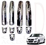 RedClub Swift ZDI car Handle / Catch Covers (Chrome) [Made in India] with Complimentary 01 Pair of RedClub Blind Spot Mirrors + RedClub Pen Free