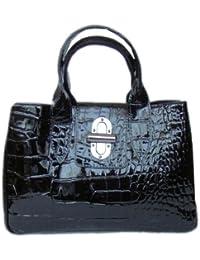 Damen Handtaschen,Schultertasche,Ledertasche,Shopper,Abendtasche, Schwarz 35x22 cm