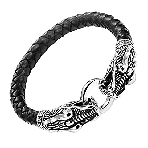 ShankMing Mens Leather Dragon Bracelet with Locking Stainless Steel Bracelet Dragon Head Clasp, Black Silver