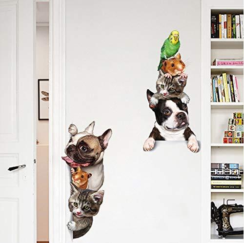 Lvabc Cartoon Pet Katze Hund Voyeur Tür Aufkleber Kindergarten Baby Kinderzimmer Dekoration Poster 3D Pvc Wasserdichte Kühlschrank Aufkleber