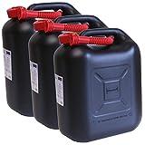 3er Set: 3x Benzinkanister schwarz 20 Liter UN Kraftstoffkanister 20