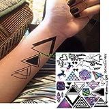 ljmljm 4 pcs Étanche Autocollant De Tatouage Rayure Code Barre Ligne Streak Tatto Tatoo Arrière Jambe Abdomen Bras pour Hommes Womena GRO Plum 21x15cm...