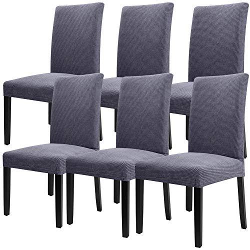 YISUN 4er/6er Set Stretch Kurze Esszimmer Stuhlhussen, Abnehmbare Waschbar Stuhlbezug Stuhl Schutzhülle für Wohnkultur Party Hotel Hochzeitszeremonie-(6-Stück, Grau) -