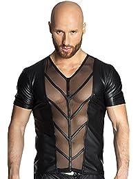 Noir Handmade Clubwear erotisches Männer-T-Shirt aus Tüll und Wetlook Reizwäsche Größen 46 - 3XL