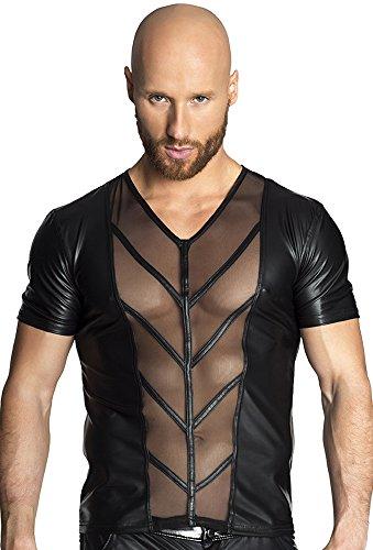 Noir Handmade Clubwear erotisches Männer-T-Shirt aus Tüll und Wetlook Reizwäsche
