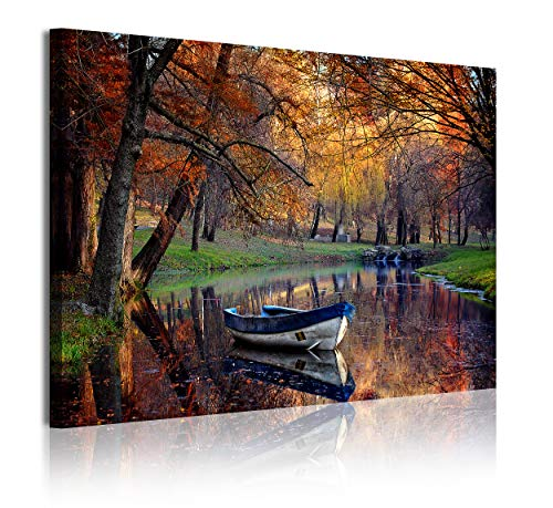 DEKOARTE 355 Cuadro moderno en lienzo, Naturaleza Paisaje otoño en Lago, multicolor, 1 pieza (120x80x3cm)