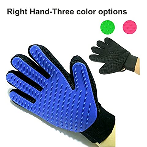 Pet Grooming Massage Glove Brush,Five Finger Gentle Deshedding Brush Glove Efficient Pet Hair Remover Mitts,Massage Tool for Pets -Long & Short Hair Dogs,Cats, Bunnies, Horses A Pair Glove Brush (Only Right Hand, Blue)