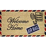 "JVL - Zerbino in fibra di cocco con retro in PVC, motivo francobollo ""Welcome Home"", 40 x 70 cm"
