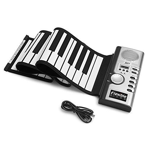 MKQB 61 Schlüssel Silikon Tragbar Faltbar Elektronik Weiche Tastatur Klavier Eingebaut 128 Arten Ton, 100 Arten Rhythmus Anfänger Tastatur (Yamaha-klavier-schlüssel)