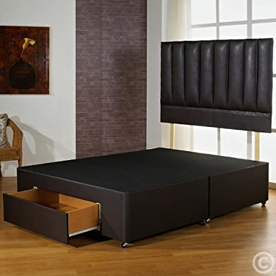 Hf4You 4Ft6 Double Brown Faux Leather Divan Bed Base With 4 Drawers