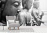 Vinyl Wand Buddhas | Fototapete für Wände | Wandbild | Dekoratives Vinyl | Verschiedene Maße 200 x 150 cm | Dekor Esszimmer, Wohnzimmer, Zimmer .| Elegantes Design
