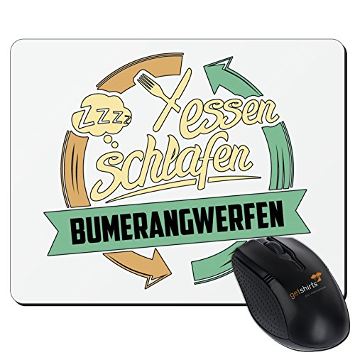 getshirts - RAHMENLOS® Geschenke - Mousepad - Sport Bumerangwerfen - weiss uni