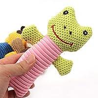 VANKER Pet Dog Strip Plush Squeaky Sound Toys Pet Bite Chew Toy - Frog