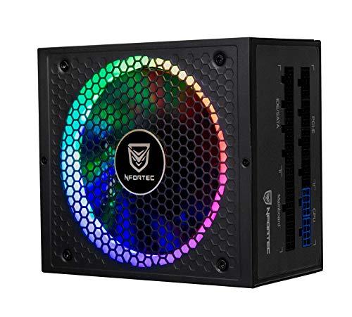 Nfortec Sagitta Fuente de alimentación 80 Plus Gold 1050w Full Modular con retroiluminación RGB en Diferentes Efectos y Colores.