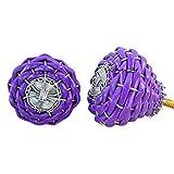 #10: Indianshelf Handmade Set of 2 Purple Rexine Wire Cabinet Knobs Wardrobe Pulls Furniture Handles